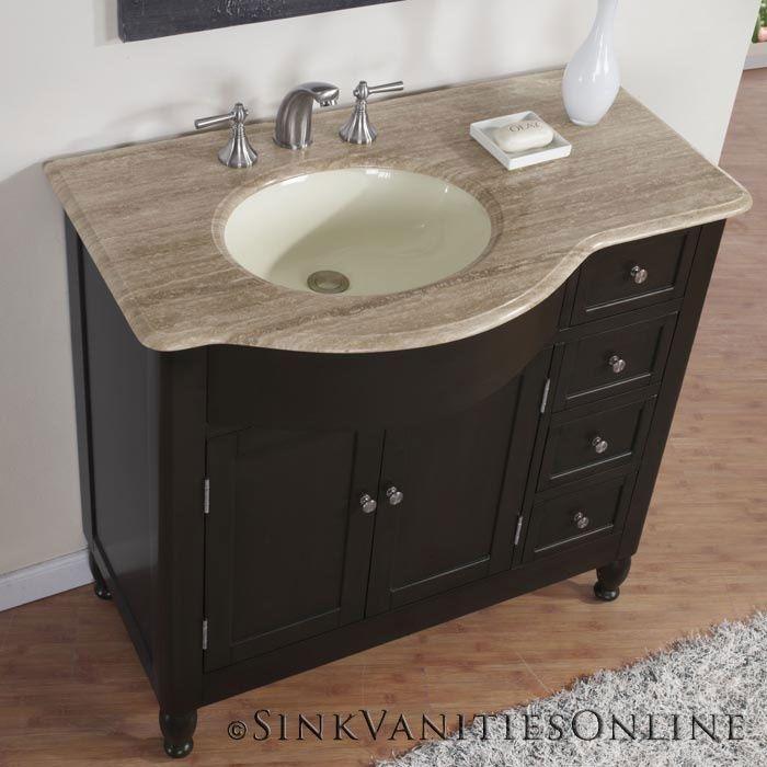 38 Quot Kelston Travertine Top Bathroom Sink Vanity Off Center