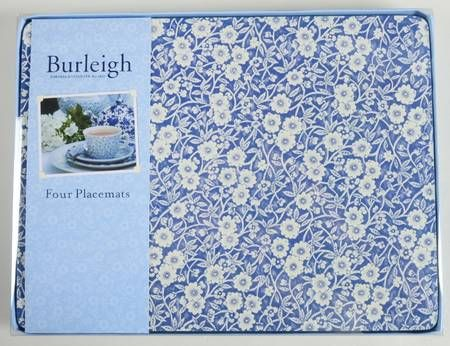 Staffordshire Calico Blue Burleigh Stamp Corkboard Placemat Set Of 4 Placemats Placemat Sets Cork Board