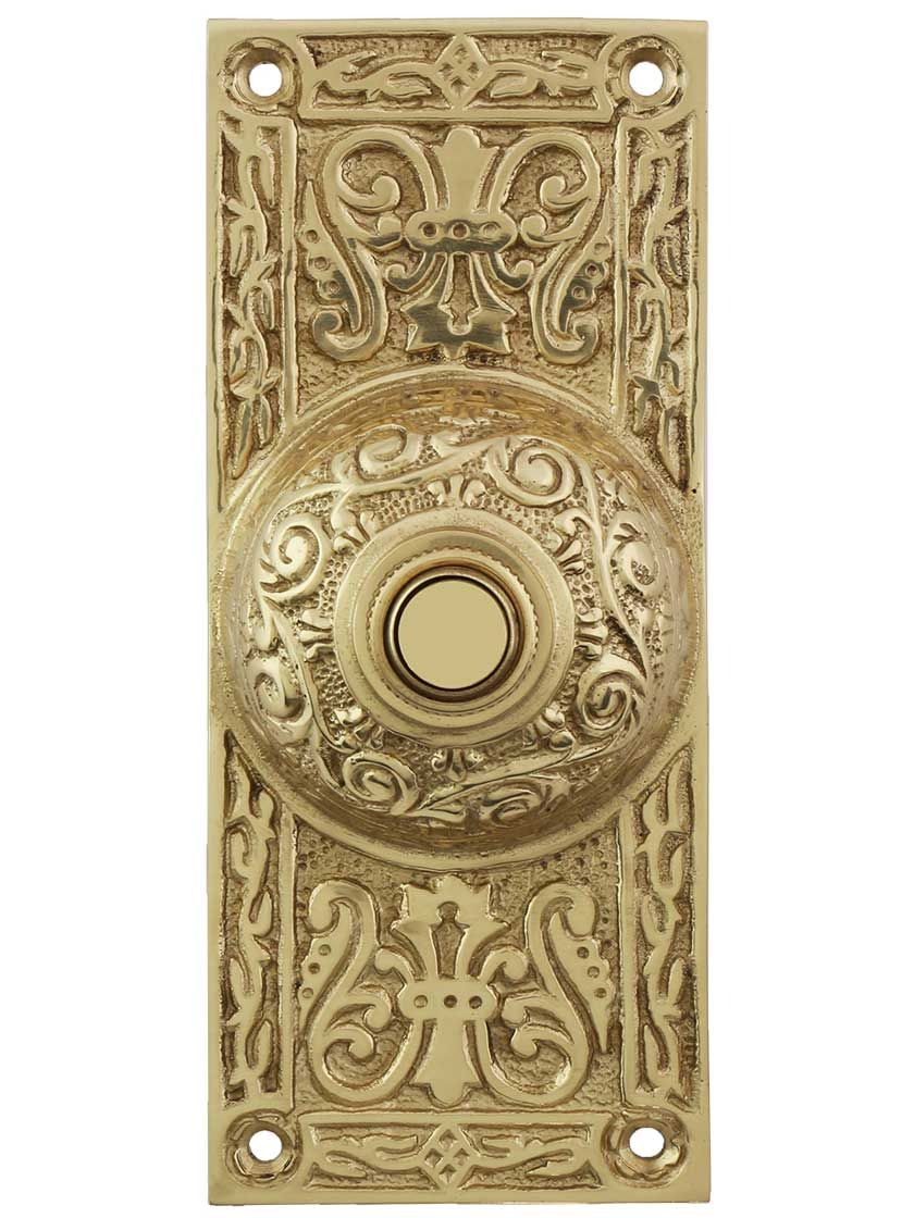 Large Victorian Solid Brass Doorbell Button Brass Doorbell Doorbell Vintage Doorbell