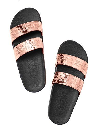 04196715e2a4e8 Victoria s Secret Pink Sport Double Strap Slides Rose Gol... https
