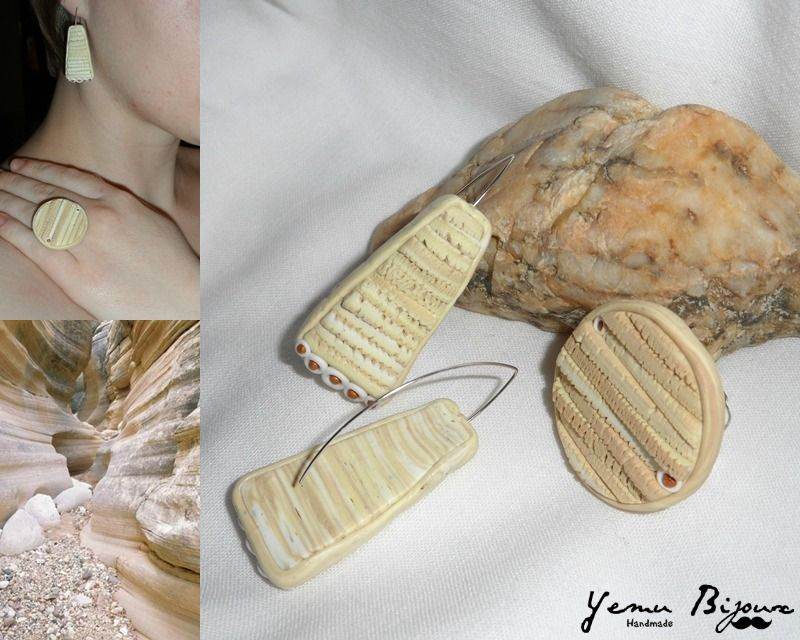 Cracked polymer clay earrings and ring, nature inspired