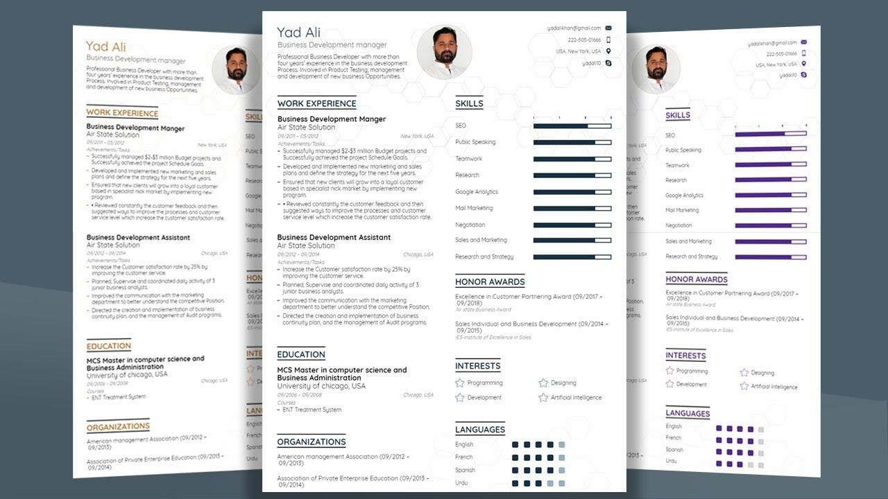 How To Make Professional College Cv / Resume Template With