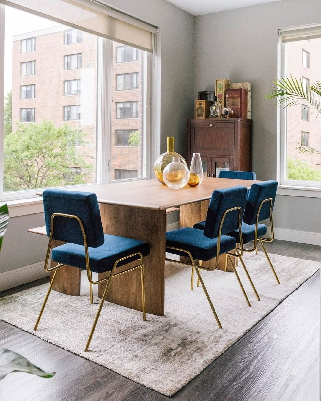 West Elm Furniture Decor On Instagram Sundaysupper Has Never Looked Better A Modern Dining Table With Bench West Elm Dining Table Velvet Dining Chairs