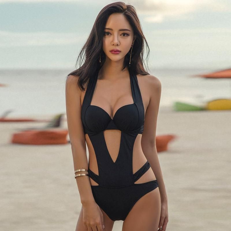 138a72737d Korean Summer Sexy Black 1 Piece Swimsuit (swim suit) SD02413 in ...