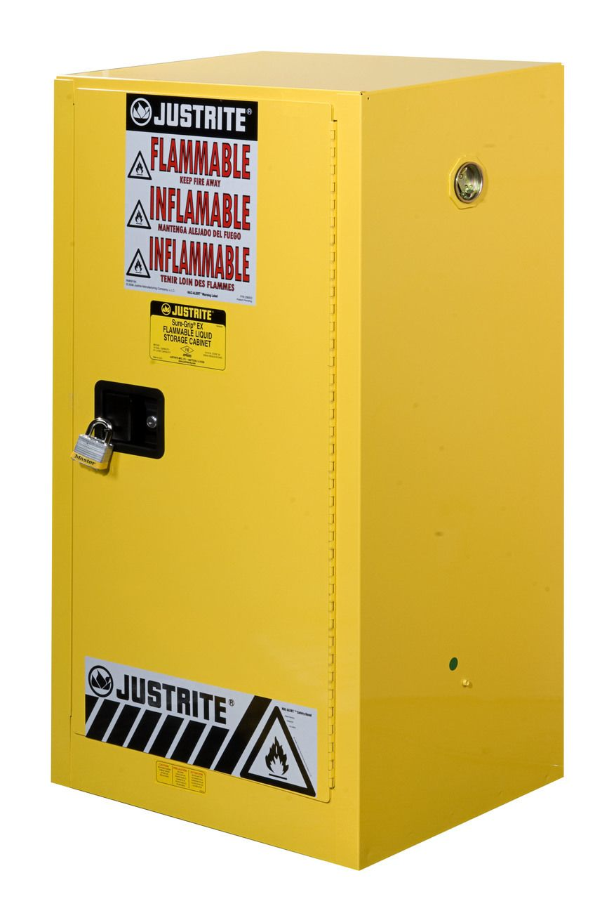 Justrite 891500 15 Gallon Compac Sure Grip Ex Safety Cabinet Manual Yellow Storage Classic Cabinets Locker Storage