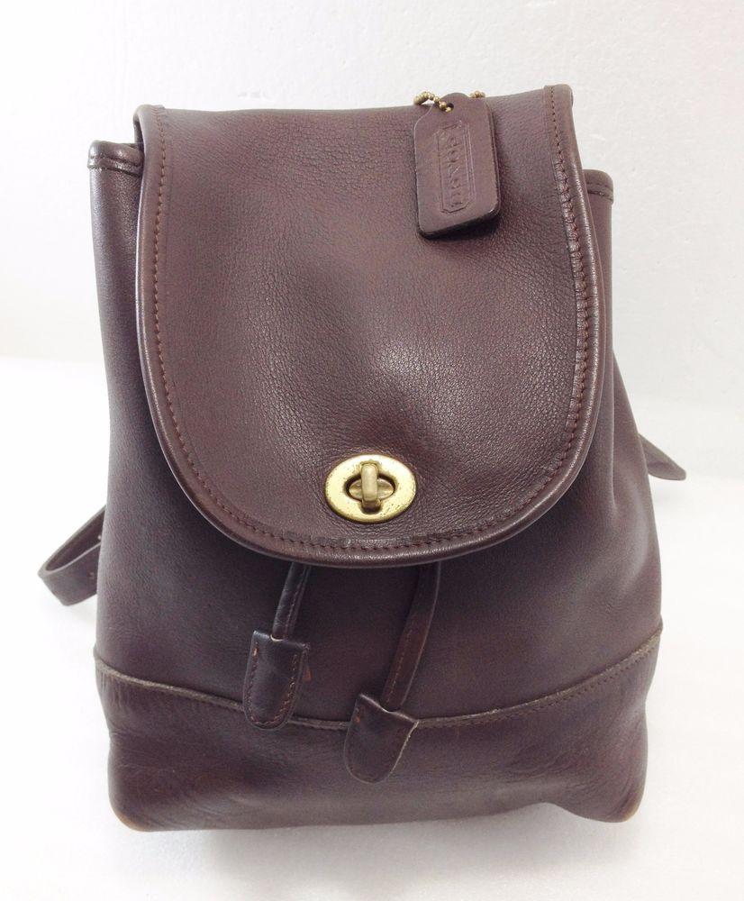 f5e6a59561 Coach Mahogany Brown Small Backpack Handbag 9960 Vintage w Hang Tag Made in  USA  Coach  BackpackStyle