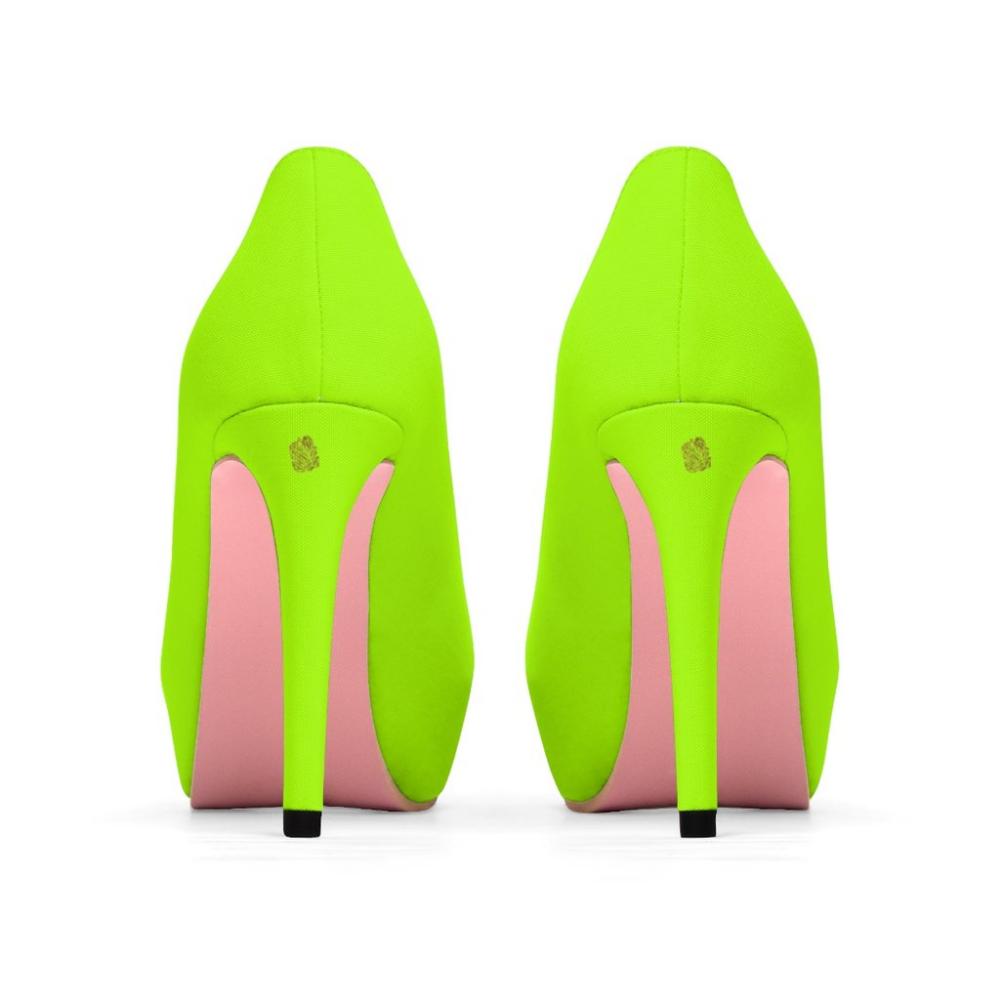 Ronin Bright Neon Green Solid Color Print Designer Women S Platform 4 Heidi Kimura Art Llc Cute High Heels Green Heels Pleather