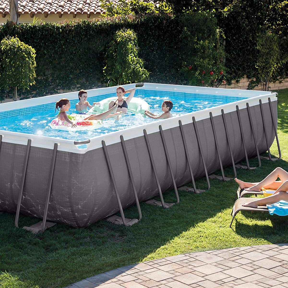 Intex 24 Foot By 12 Foot By 52 Inch Rectangular Ultra Frame Pool Rectangular Pool Rectangle Pool Above Ground Swimming Pools