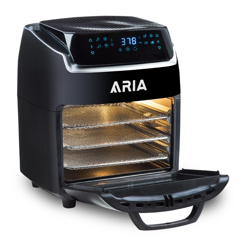 modernhome 10 QT Aria Air Fryer With Rotating Rotisserie, Dehydration, Premium Accessory Set, & Recipe Book, Black