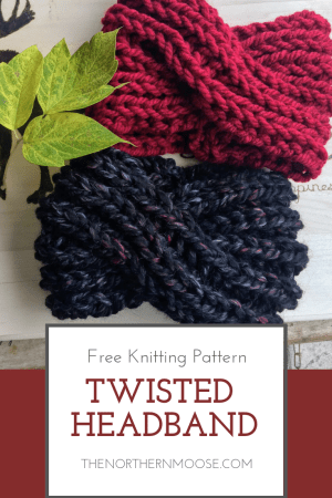 Easy fun to make twisted headband knit pattern. Perfect pattern to knit ear warmers to wear with your top knot bun. #crochetheadbandpattern