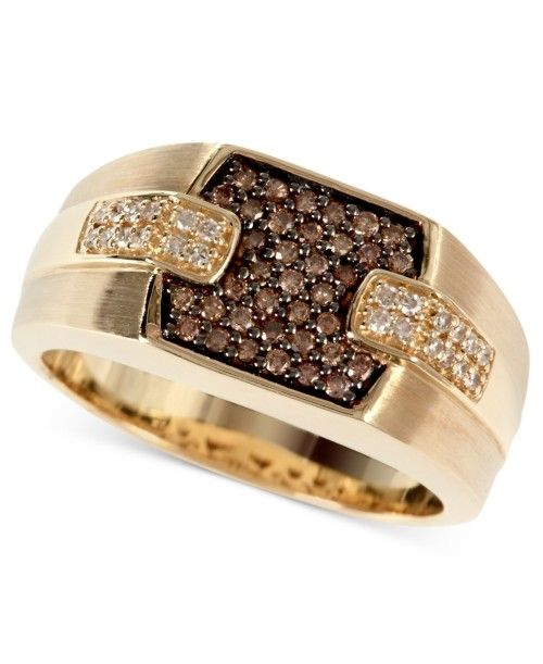 Chocolate Diamond Jewelry For Men Gold Mens Ring Brown 1 4 T W And White 8 Accessory
