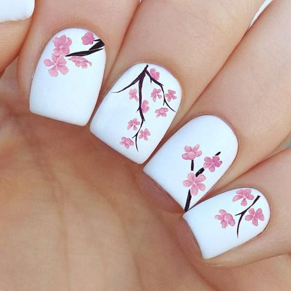 45 Spring Nails Designs and Colors Ideas 2016 / the flower but not on white  maybe on a different color - 8.jpg 570×570 Pixeles Nails Pinterest Inspiration, Tree Nails