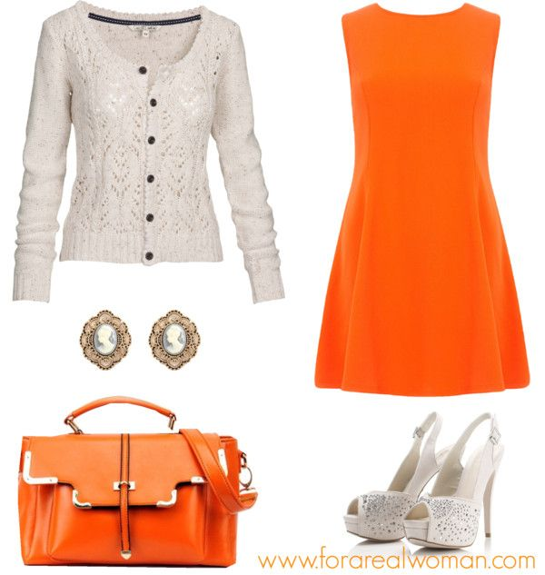 On Sunday, a lace and orange outfit: Dorothy Perkins orange skater ...