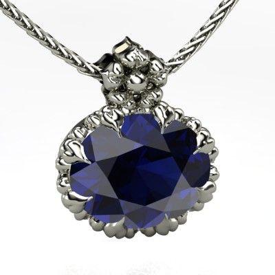 Oval Sapphire Platinum Necklace