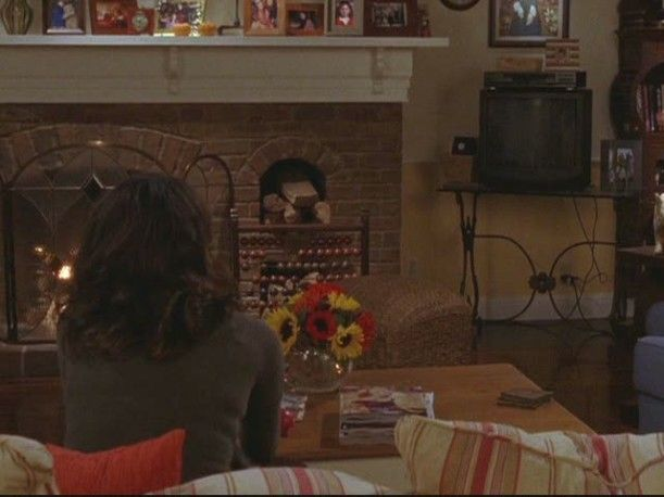 Lorelai's living room- love the firewood nook