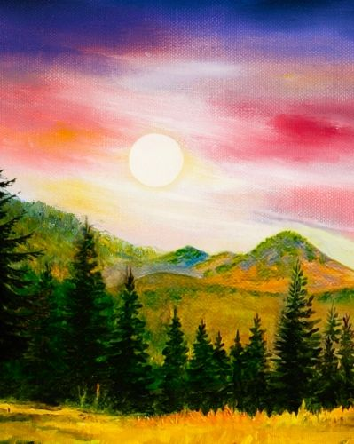 Easy Mountain Sunset Painting : mountain, sunset, painting, Paint, Nite., Drink., Paint., Party!, Painting, Events, Local, Bars., Party!., Canvas, Painting,