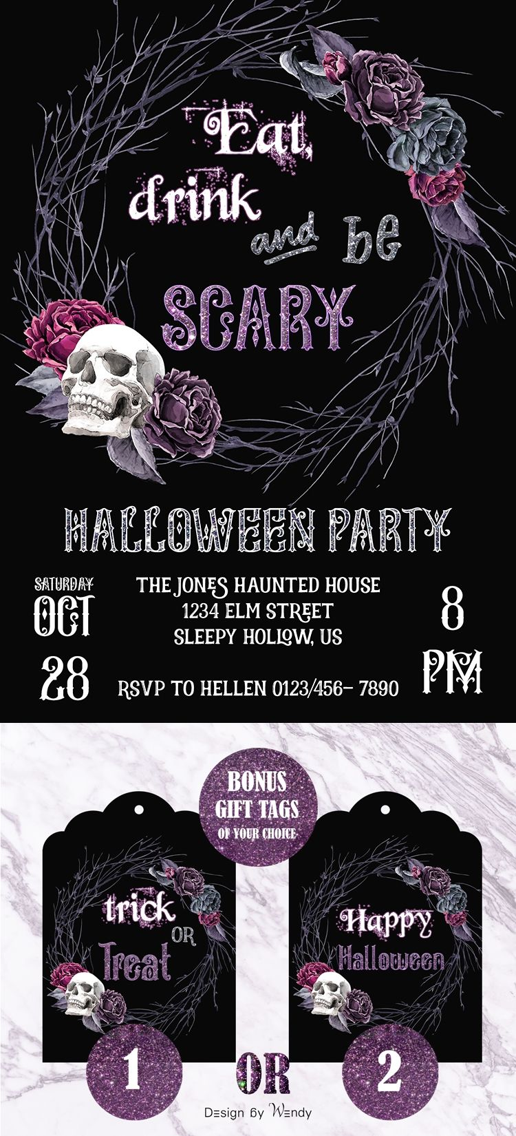 Halloween invitation for adults with bonus gift tags, customizable ...