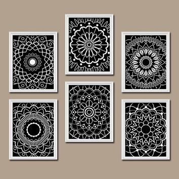 Bathroom Black And White Wall Decor wall art kitchen bedroom bathroom mandala flower canvas artwork