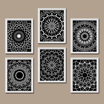 Wall art kitchen bedroom bathroom mandala flower canvas artwork custom colors black white botanical set of