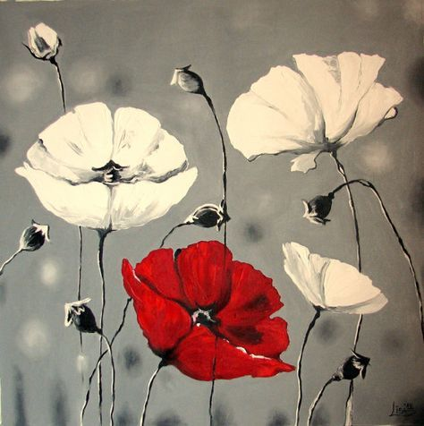 Riesige Original Olgemalde 51 X 51 Mohn Blumen Grau Rot Weisse Wandkunst Flower Painting Von Mohn Impas Poppy Painting Abstract Painting Flower Painting