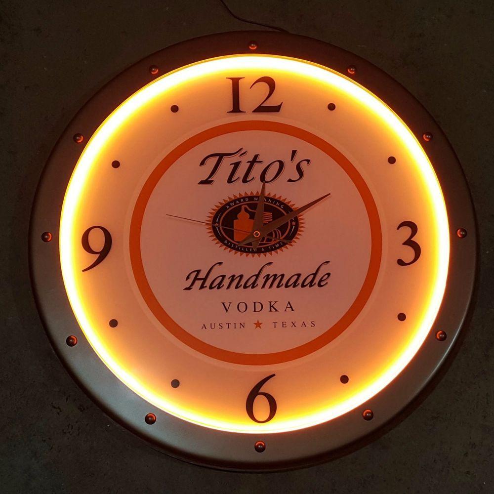 "Titos Vodka Lighted LED Bar Pub Wall Clock 21\"" Austin"