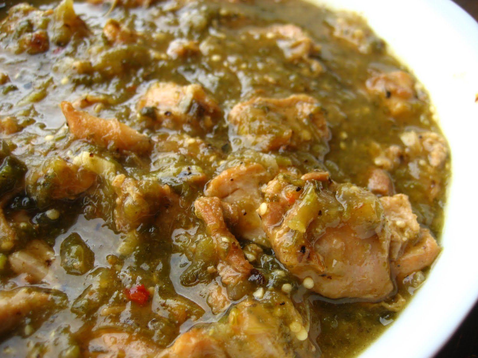 Para de verde pollo carne salsa