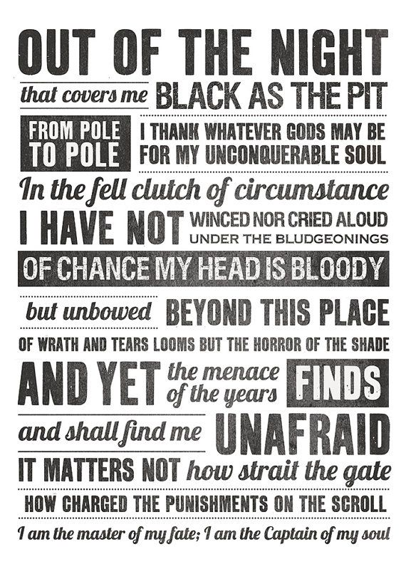 Invictus i am the master of my fate invictus poem by ...