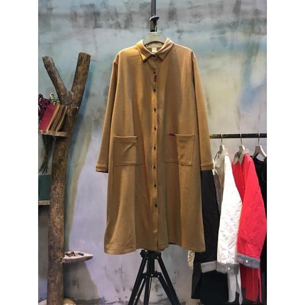 Front Pockets Single-Breasted  #Shirt #Dress #Wool Plus Size Dress  #fashion #shirtdress #longblouse #morimiss