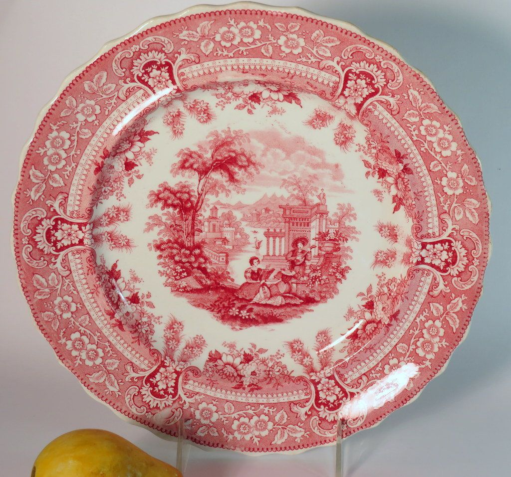 Alfred Meakin Tonquin Dinner Plate Pink Transferware Porcelain House Vintage