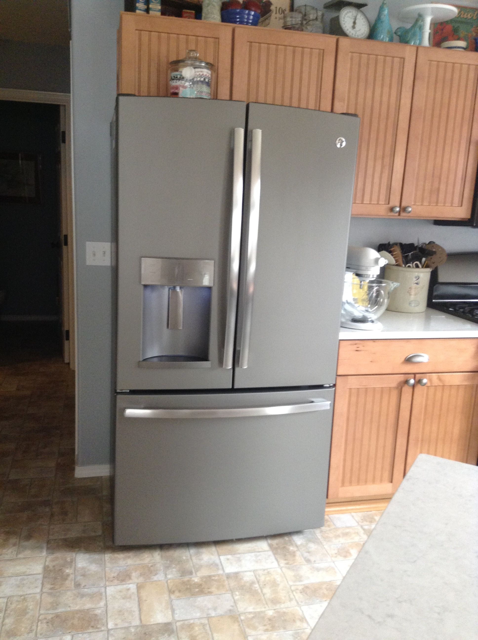 Ge French Door Refrigerator Counter Depth In Slate With Medium