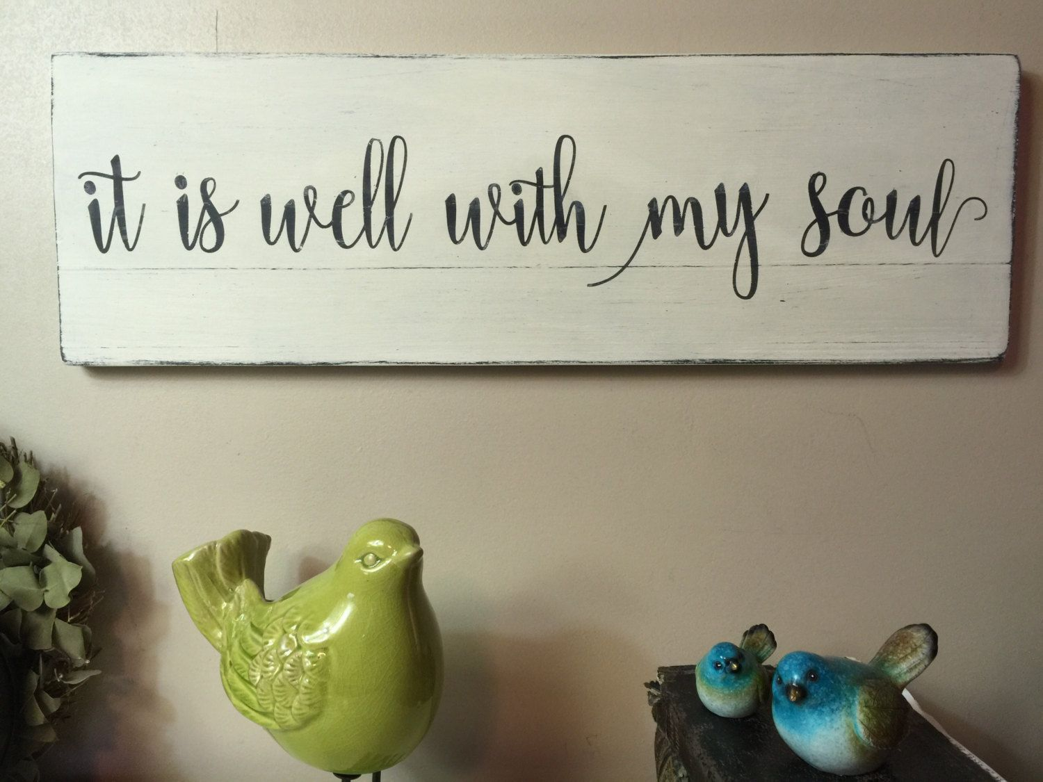 Wooden Signs For Home Decor Brilliant It Is Well With My Soul Hymn Painted Wood Sign Christian Sign Review