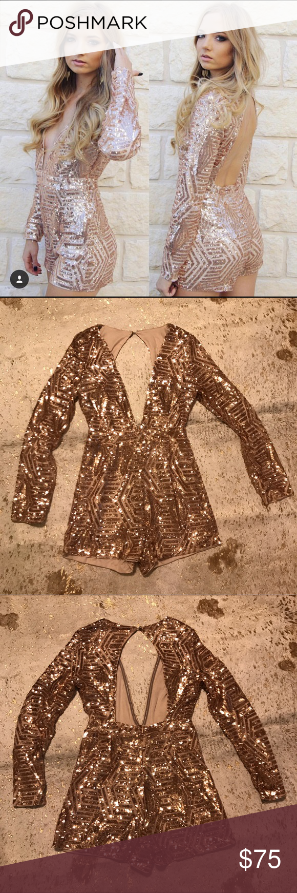 Nwt rose gold sequin romper nwt sweet pinterest