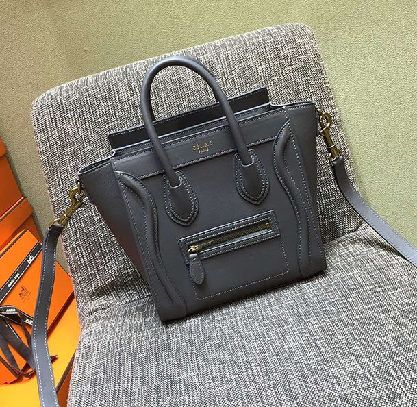 Celine Nano Luggage Grey Tote  0e51827902928