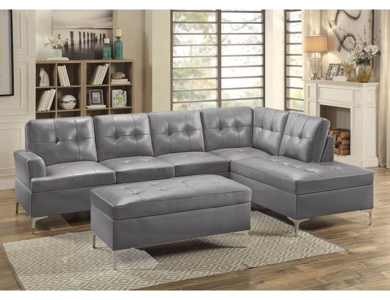 Contemporary Grey Leather Sectional Sofa With Images Grey