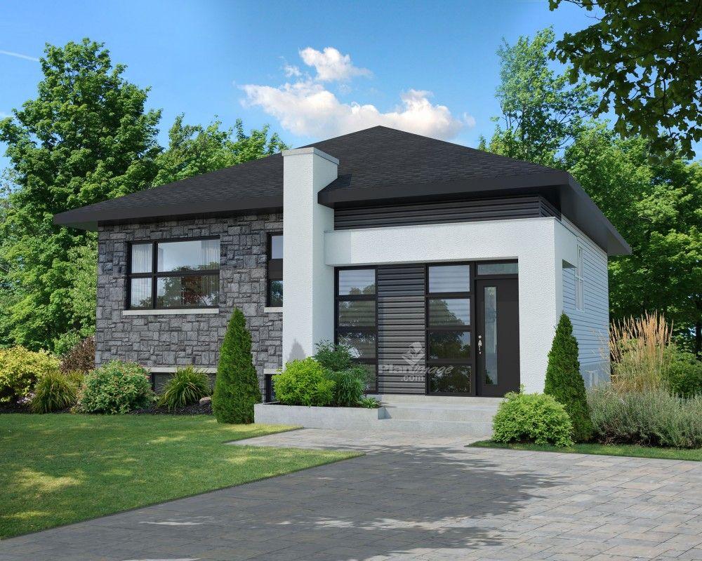 Cette l gante maison de plain pied avec fa ade de pierres d aluminium et de bois mesure 32 for Petite maison luxueuse