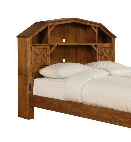 Powell Dakota Full Size Dark Rustic Pine Barn Style Bookcase Headboard