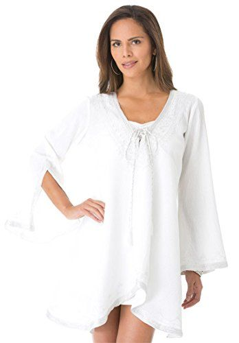 d14797c5a5d Roamans Womens Plus Size Tassel Hankie Hem Cover Up WhiteL -- Check out  this great product.(This is an Amazon affiliate link)