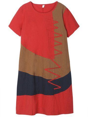 Contrast Color Geometry  Vintage Patchwork Women Dress