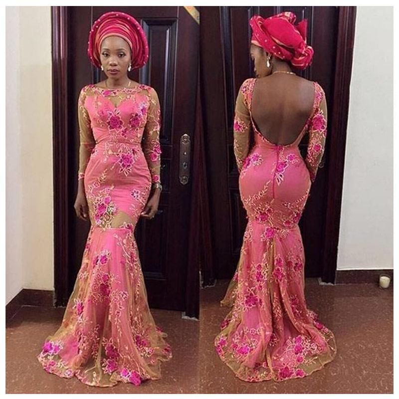 6217cb0386a2 African Lace Sexy Dresses for Women Dashiki Elegant Slim Africa Clothes  Bazin Riche Mermaid Lace dress for Lady WY2439