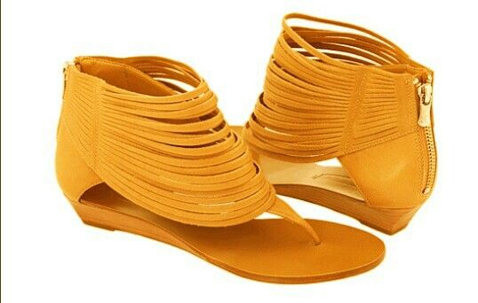 Layered Fringed Sandal With Golden Zipper