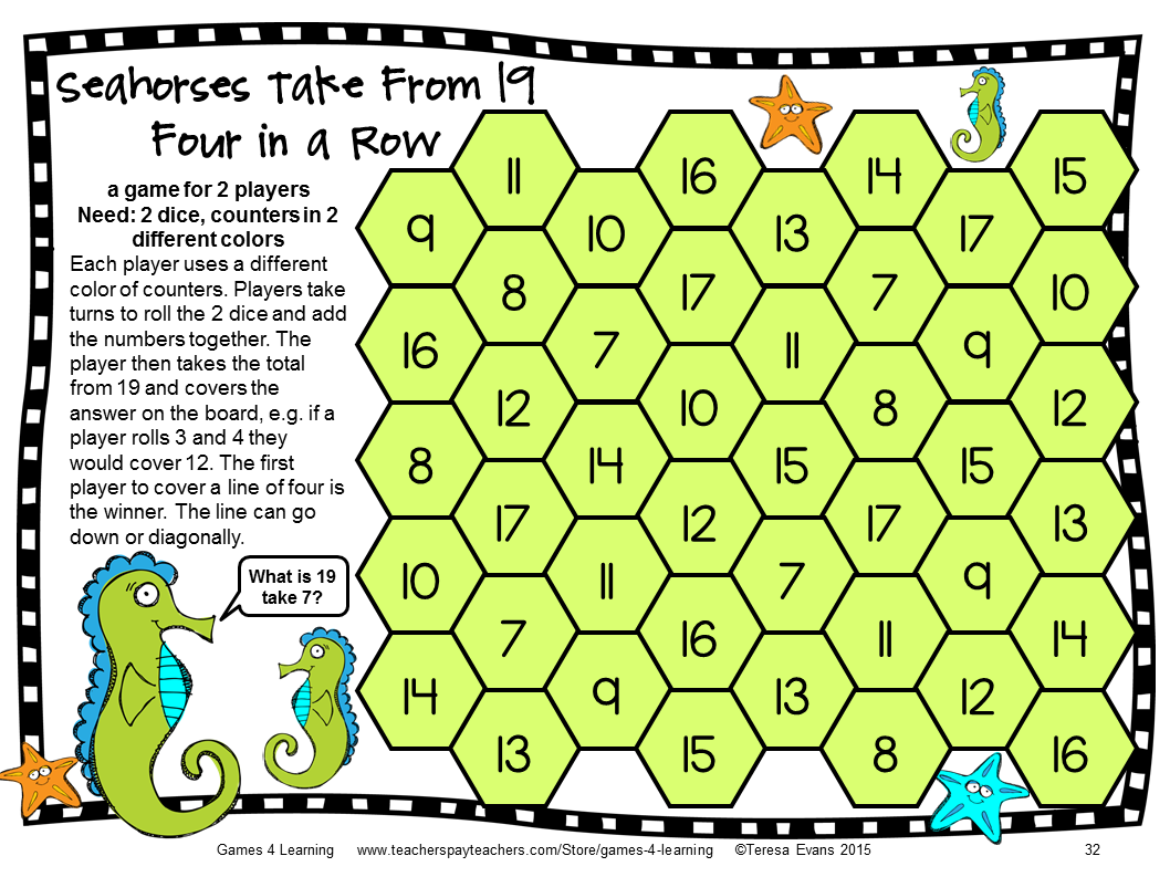 Ocean Animals Subtraction Board Games: Subtraction Games for ...