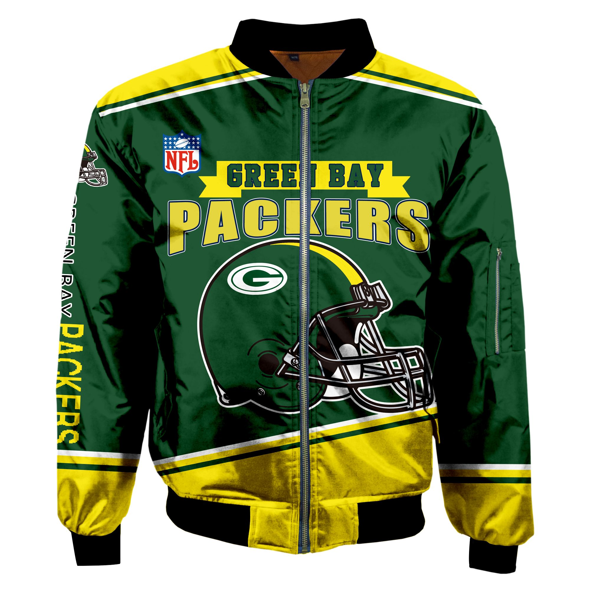 Green Bay Packers Fans Bomber Jacket Men Women Cotton Padded Air Force One Flight Jacket Unisex Coat Mas004 In 2020 Flight Jacket Bomber Jacket Men Bomber Jacket