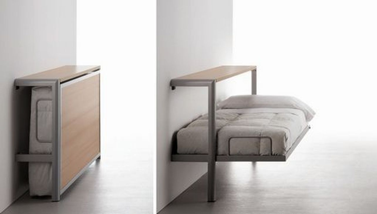 Loft bedroom with no door  Amazing Saving Space Folding Wall Table Ideas  Furniture Ideas