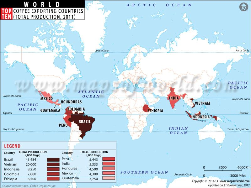 The map shows the top ten coffee exporting countries by production - best of world map with brazil highlighted