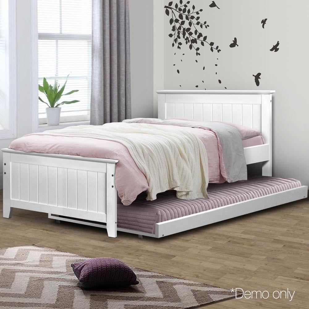 King Single Wooden Bed Frame Amp Pull Out Slide Trundle Kids