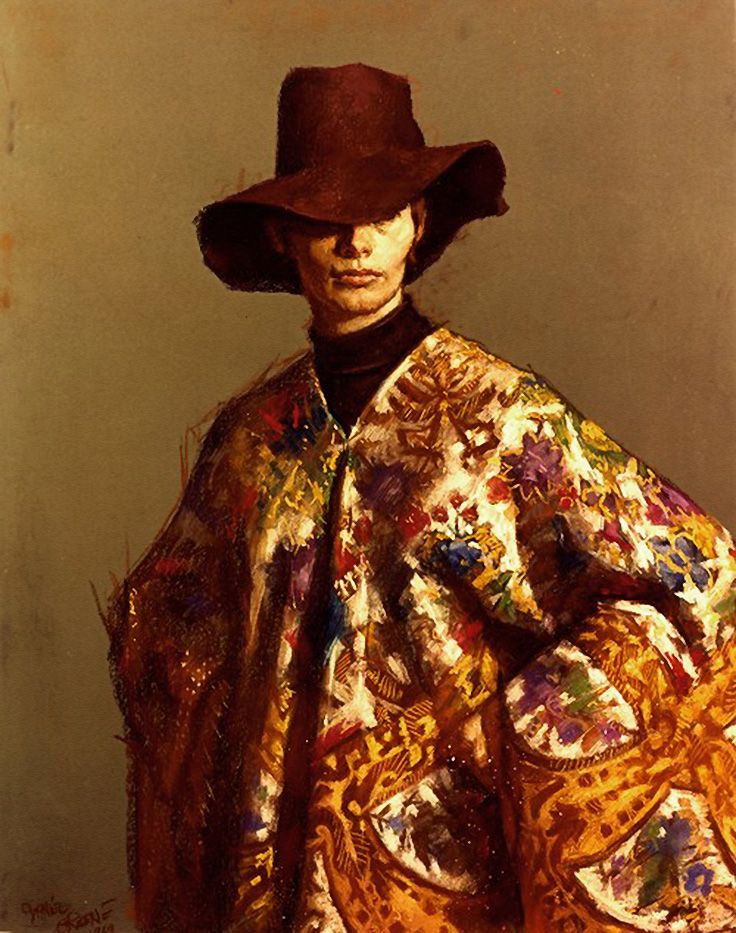 """Hippie"" - Daniel E. Greene, pastel on paper, 1969 {contemporary figurative artist female hat woman portrait drawing} danielgreeneartist.com"