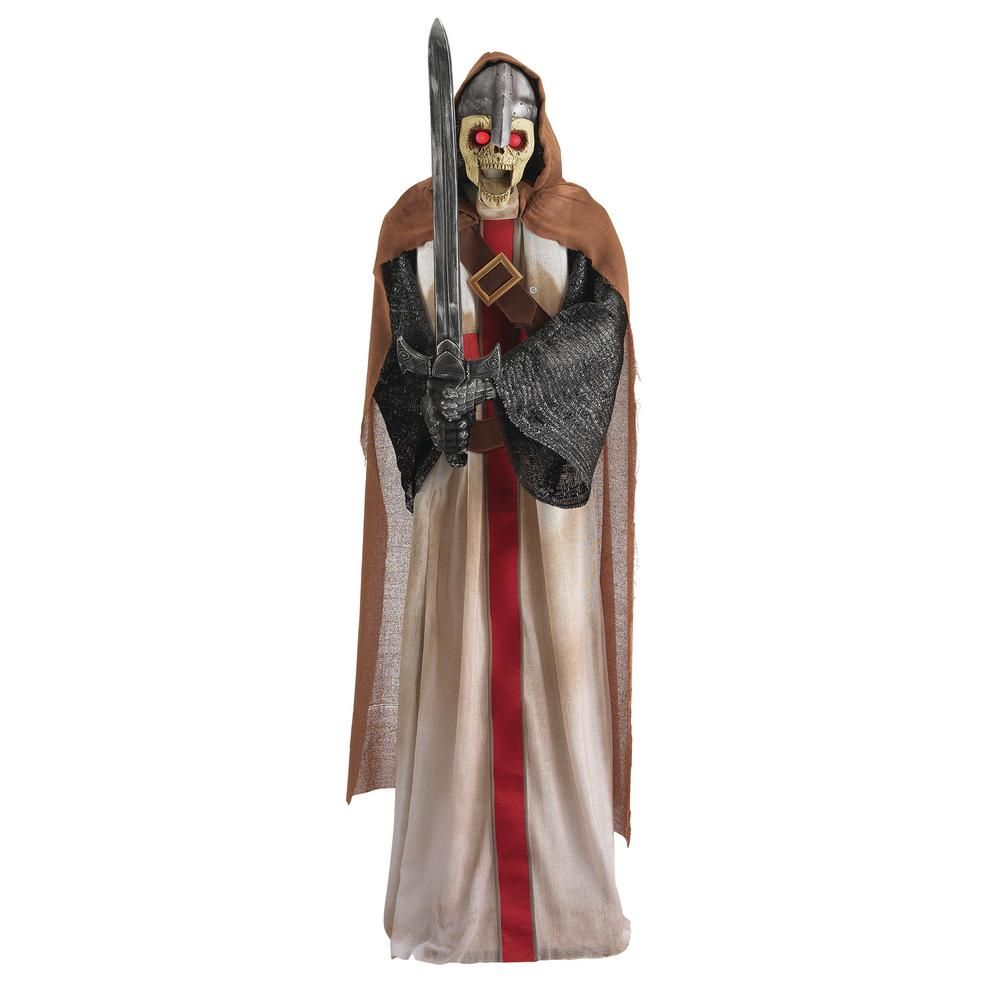 Home Accents Holiday 72 In Animated Standing Knight 9330 72657 The Home Depot Funny Halloween Party Knight Halloween Light Eyes