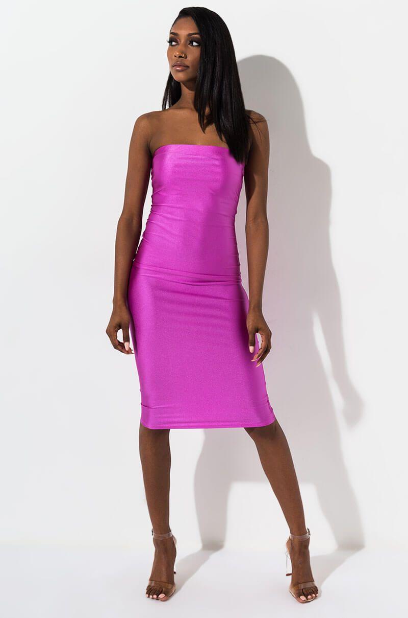 Akira Label Strapless Bodycon Metallic Midi Dress In Rose Dawn Midi Dress Bodycon Dresses Midi Dress [ 1209 x 800 Pixel ]