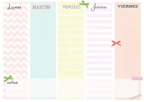 Planificador Semanal Gratis Calendaris Pinterest