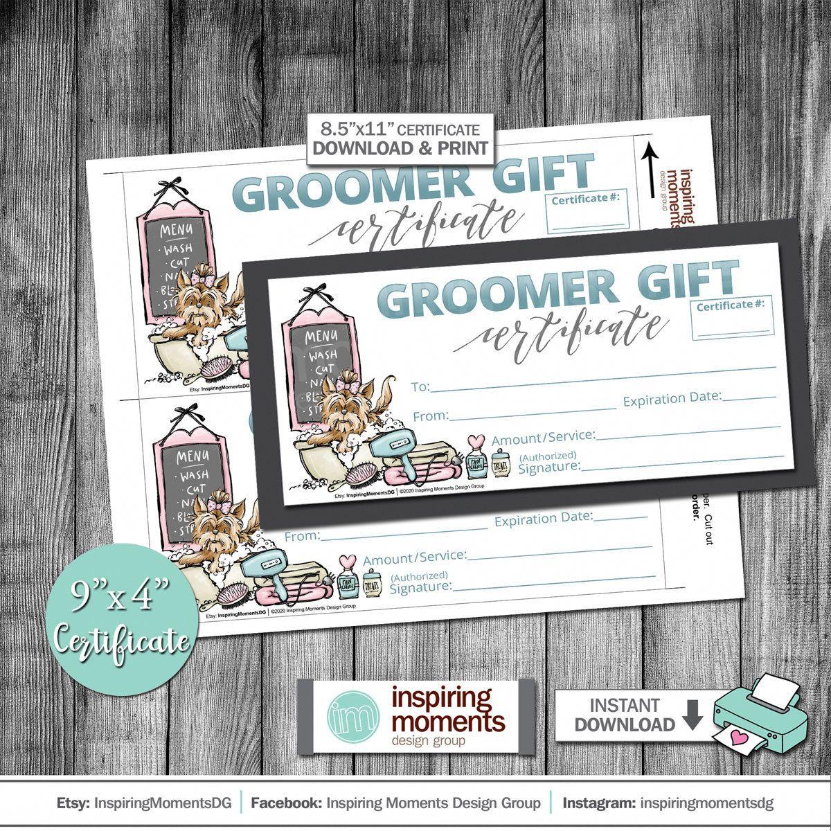 Dog grooming gift certificate groomer pet shop store